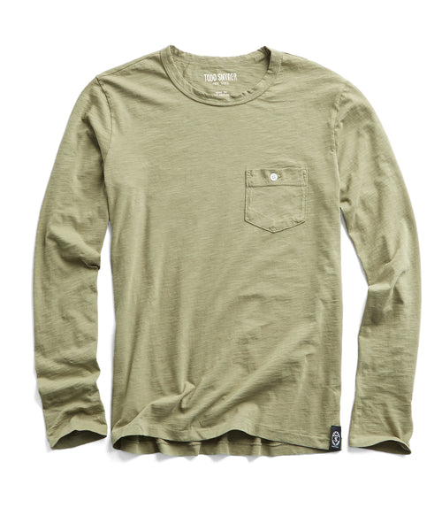 Made in L.A. Slub Jersey Long Sleeve T-Shirt in Cactus
