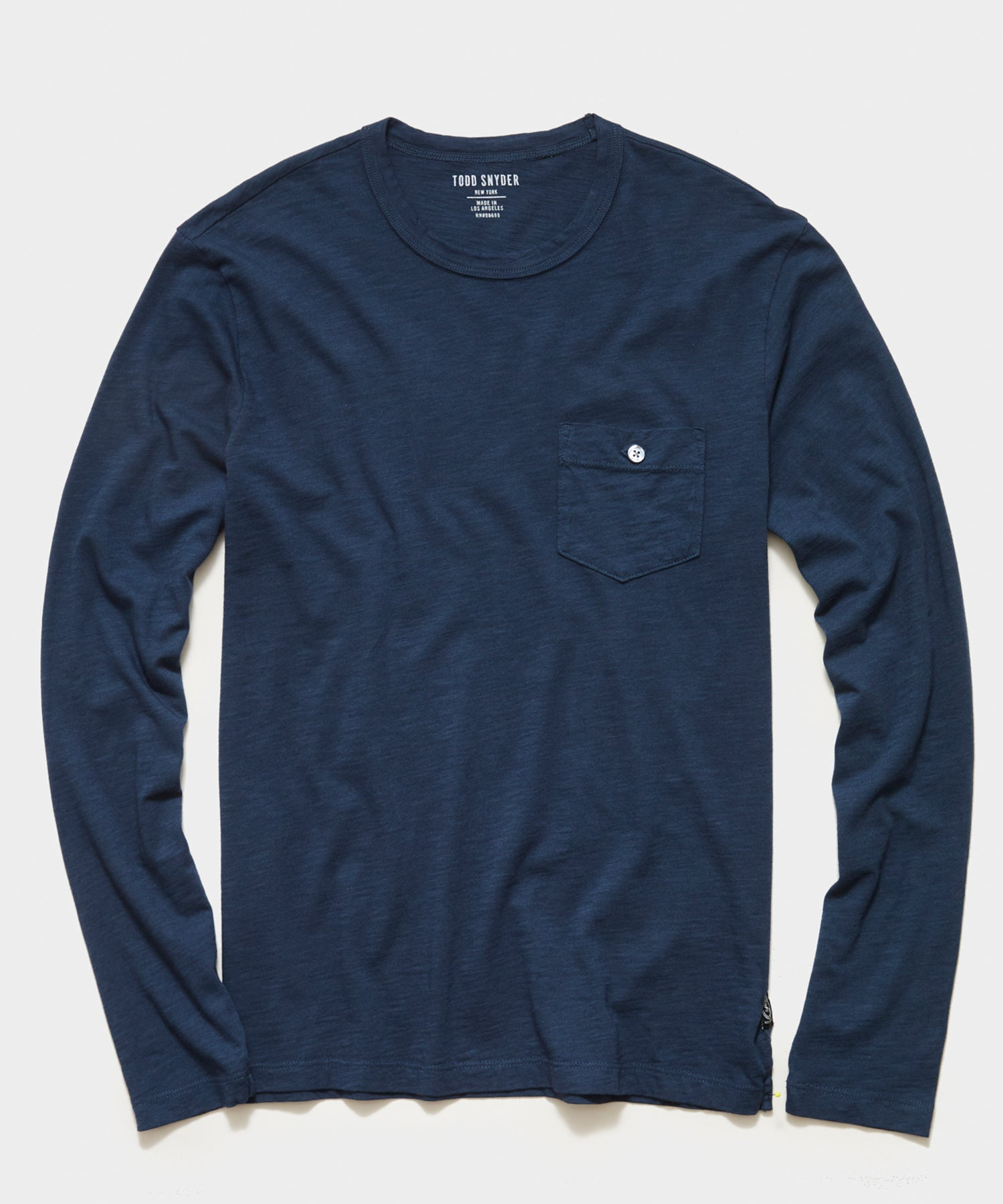 Made in L.A. Slub Jersey Long Sleeve Pocket T-Shirt in Original Navy