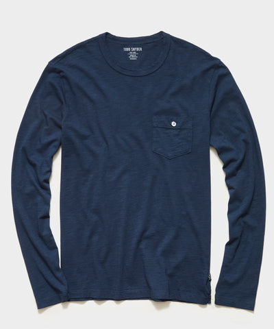 Made in L.A. Homespun Slub Long Sleeve Pocket T-Shirt in Original Navy
