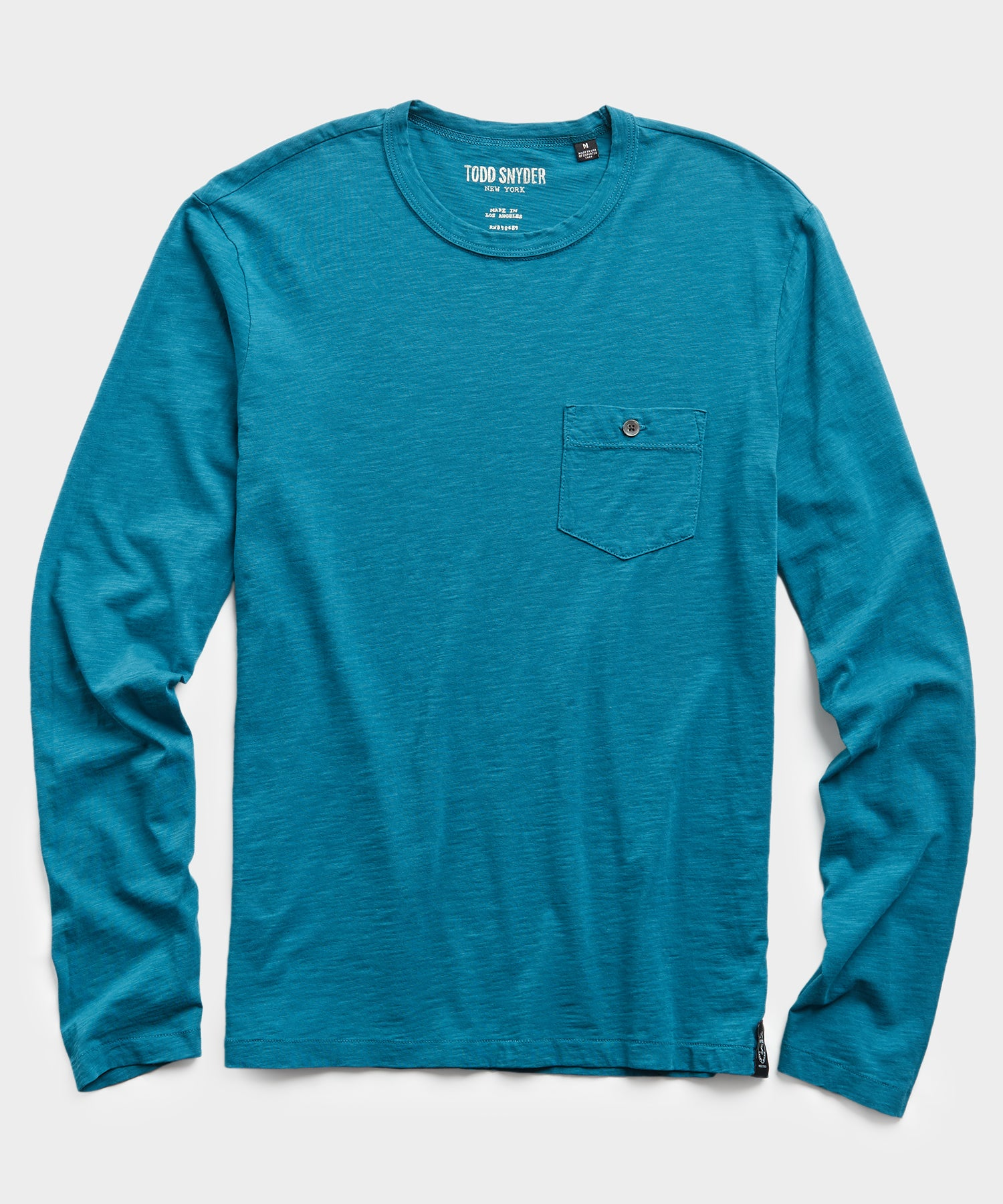 Made in L.A. Slub Jersey Long Sleeve T-Shirt in Cyan