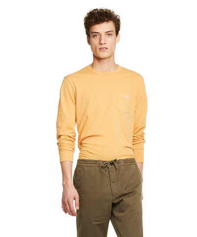 Made in L.A. Slub Jersey Long Sleeve T-Shirt in Saffron