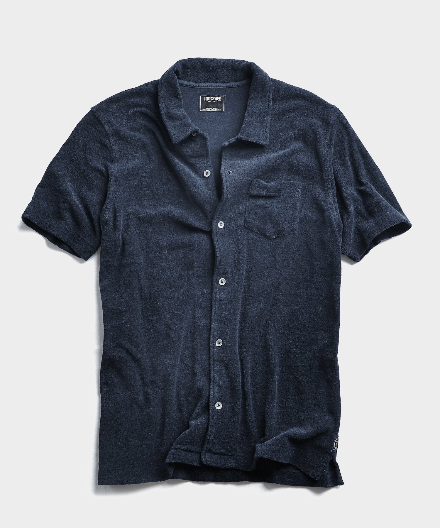 Terry Button Down Polo in Navy