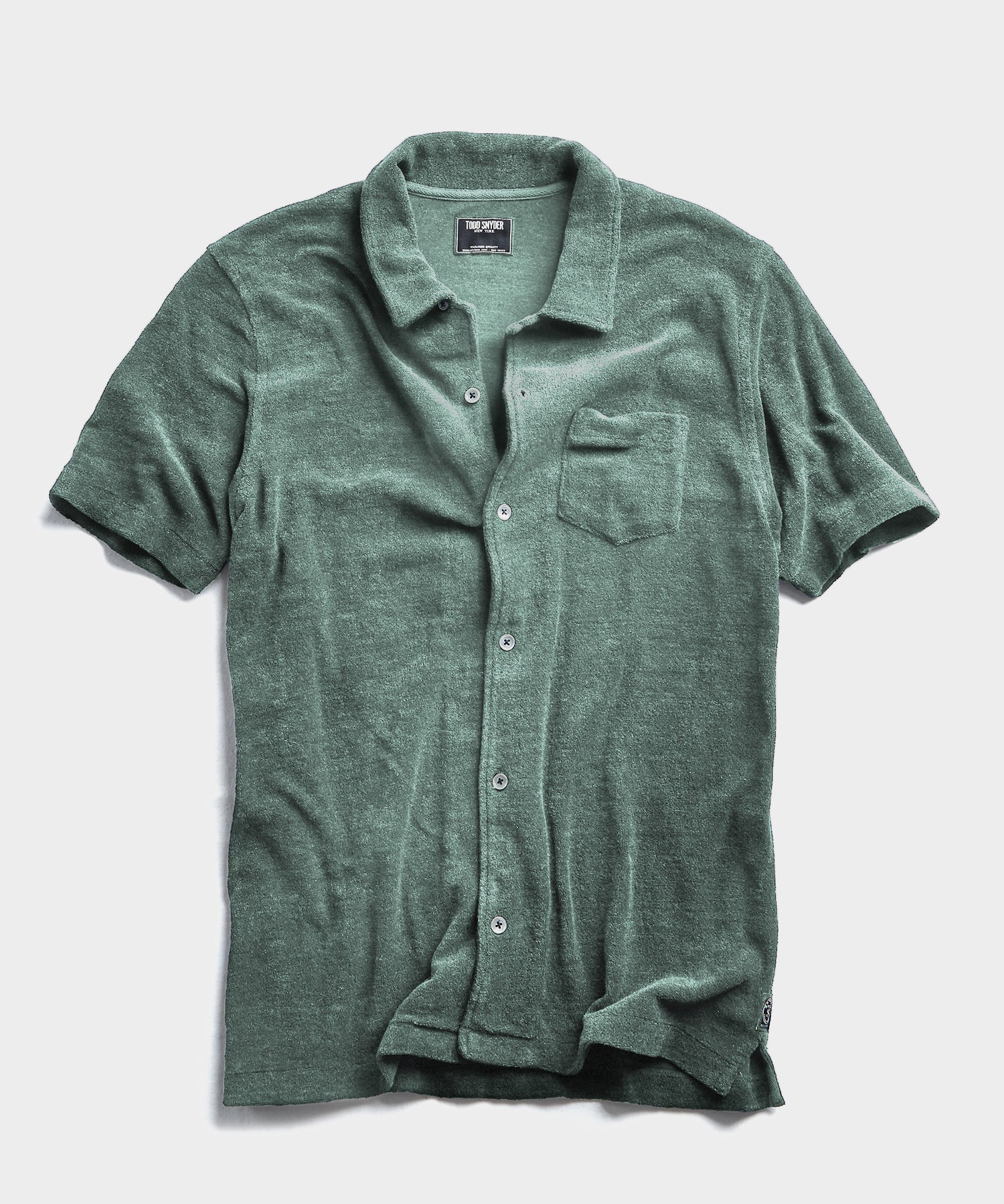 Terry Button Down Polo in Pistachio