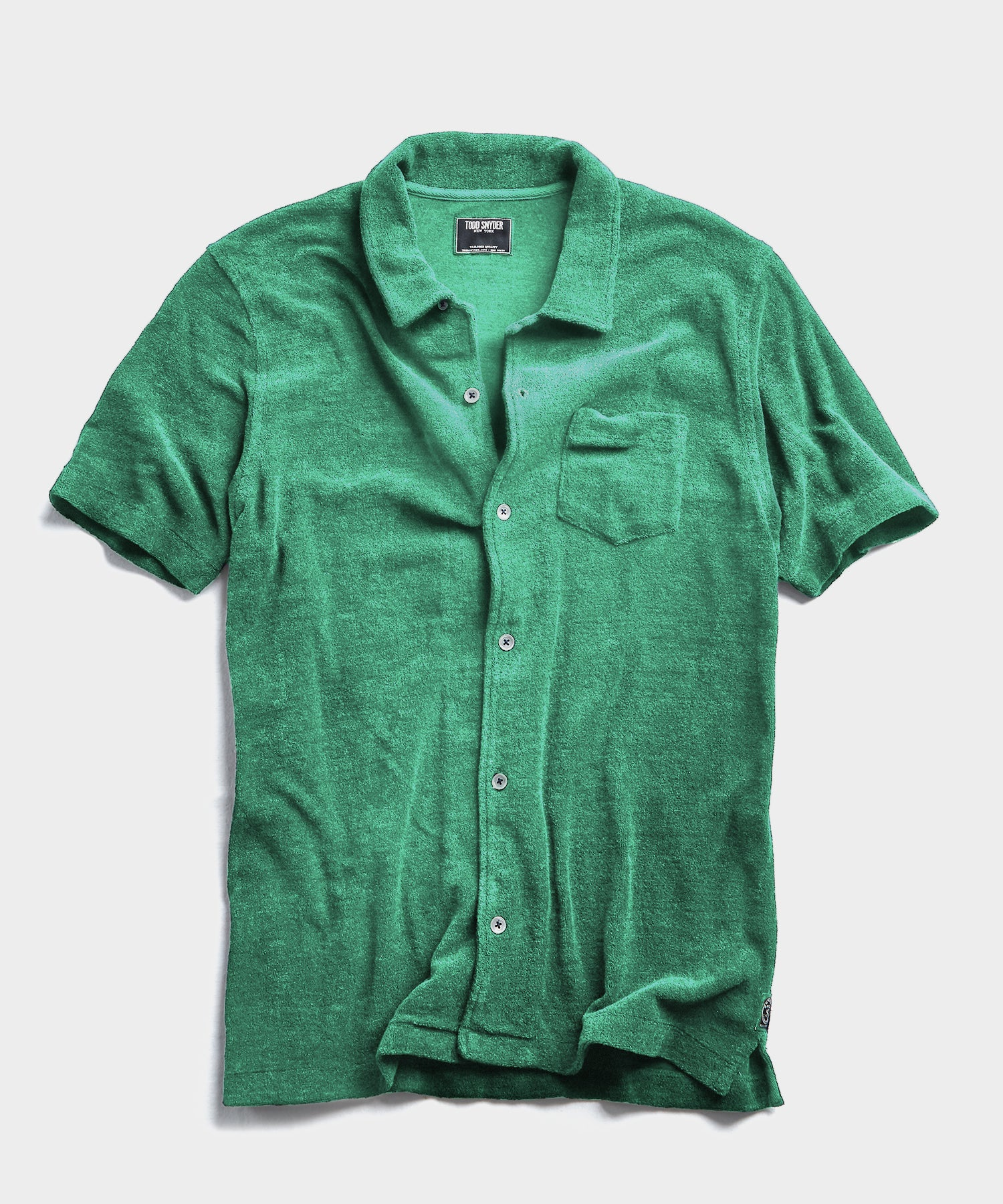 Terry Button Down Polo in Turf Green