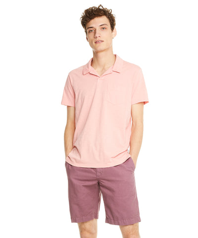 Made in L.A. Slub Jersey Montauk Polo in Fresh Peach