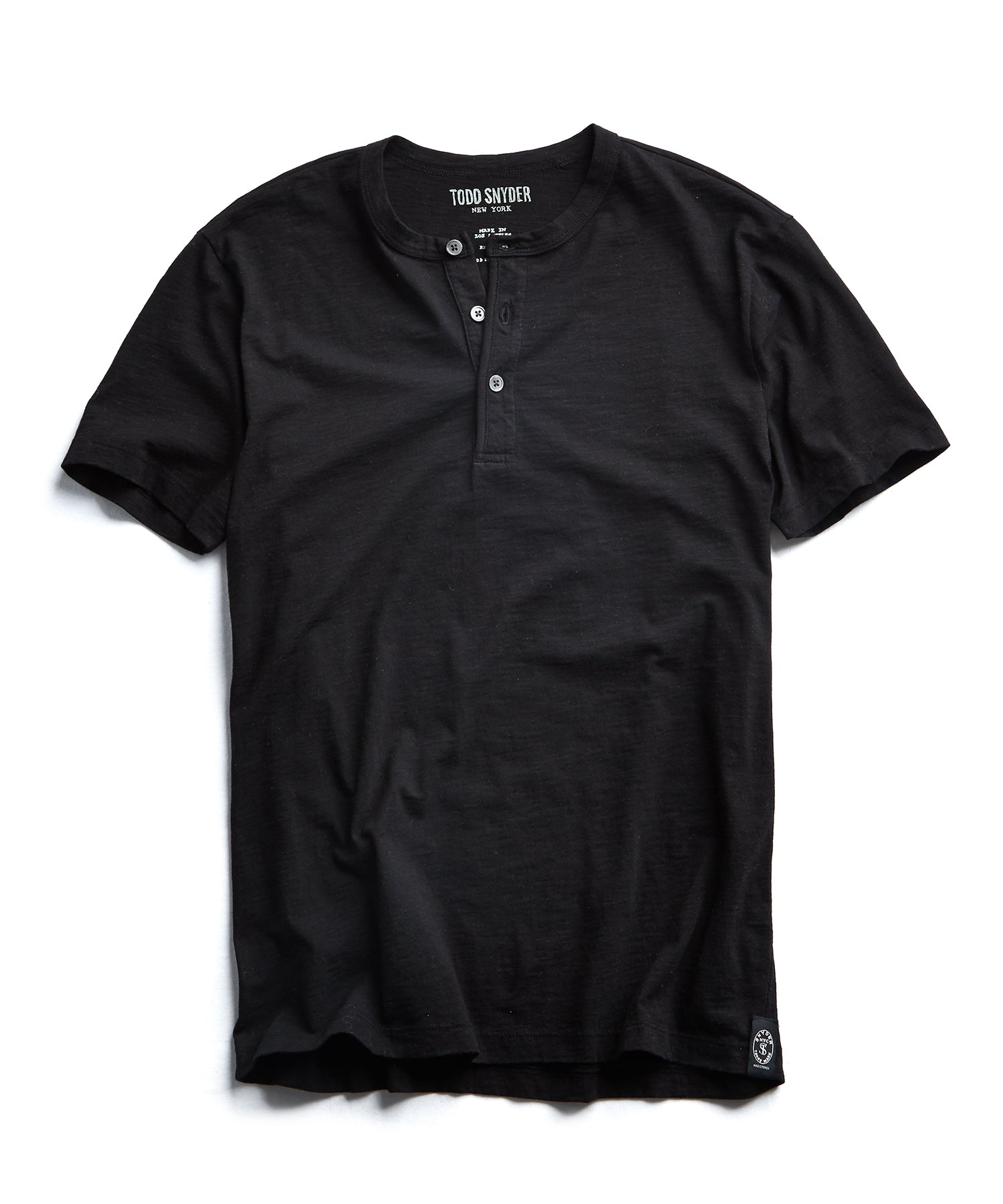 Made in L.A. Slub Jersey Short Sleeve Henley in Black