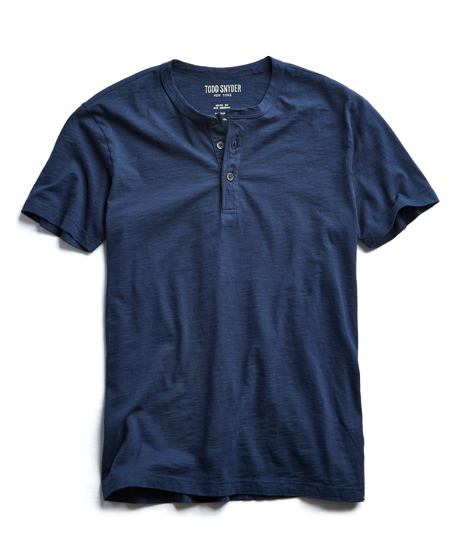 Made in L.A. Slub Jersey Short Sleeve Henley in Navy