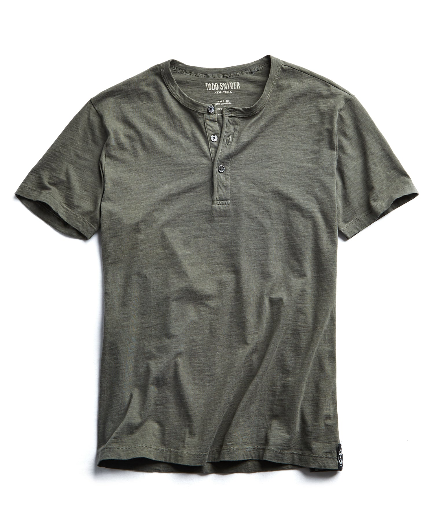 Made in L.A. Slub Jersey Short Sleeve Henley in Olive
