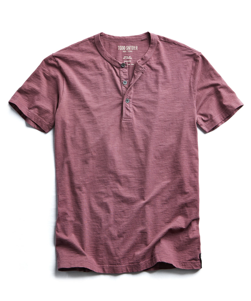 Made in L.A. Slub Jersey Short Sleeve Henley in Smokey Mauve