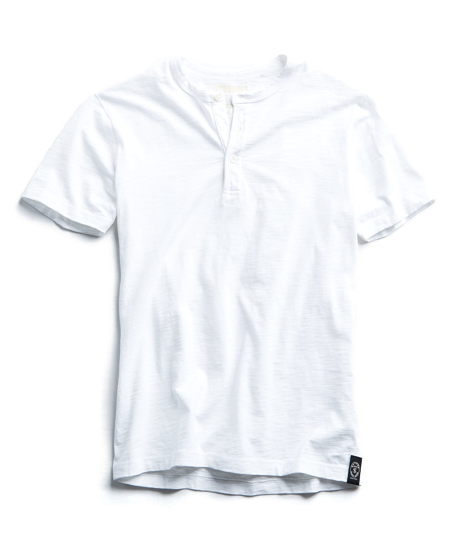 Made in L.A. Slub Jersey Short Sleeve Henley in White