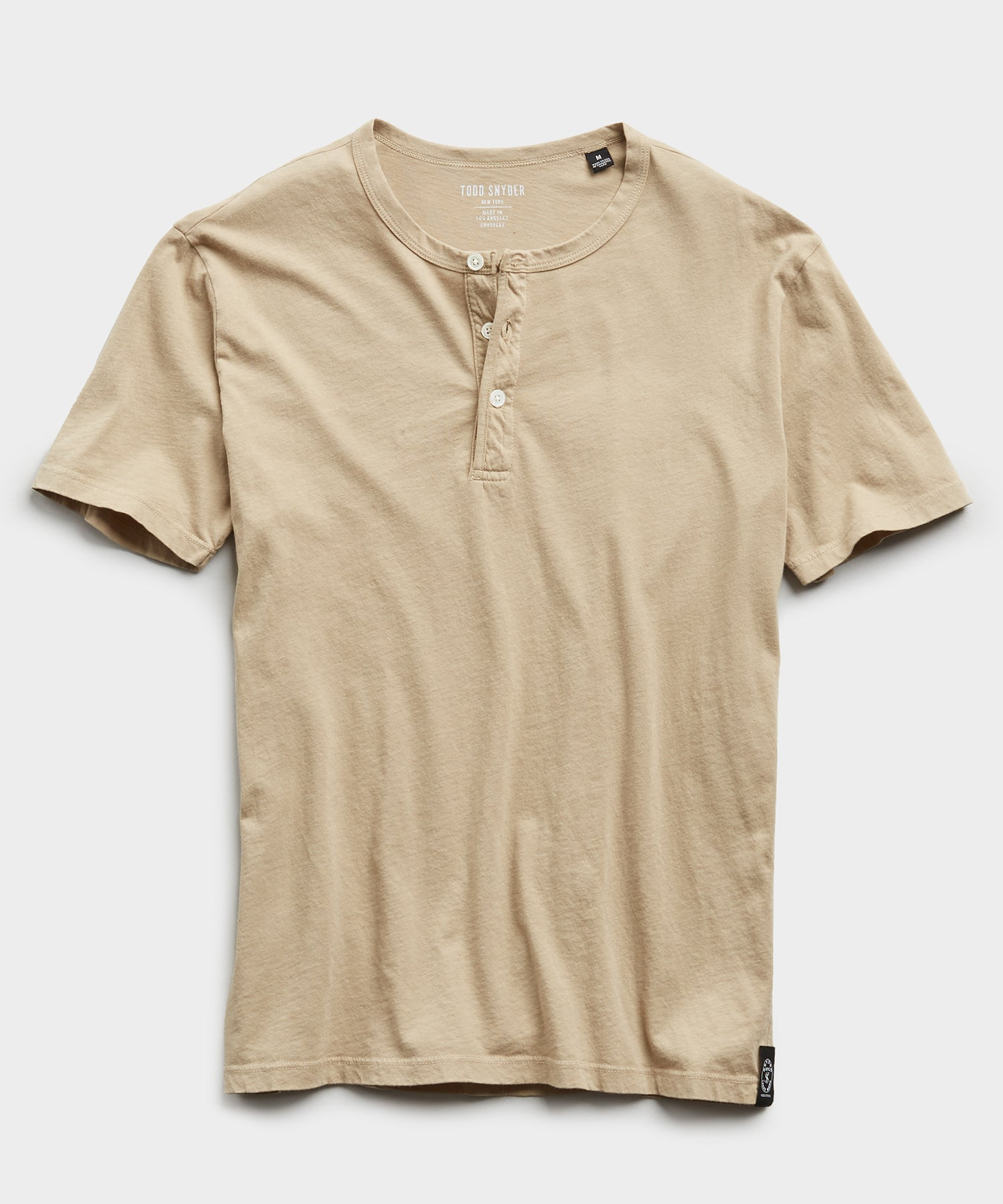 Made in L.A. Short Sleeve Jersey Henley in Toasted Almond