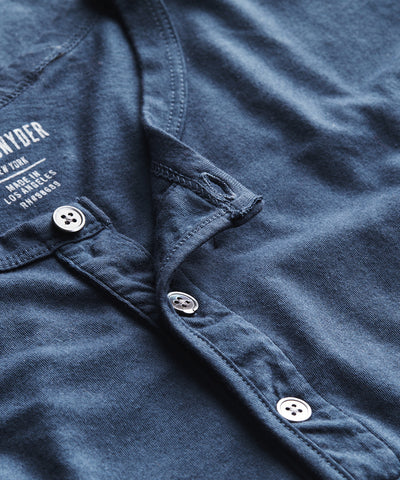 Made in L.A. Short Sleeve Jersey Henley in Navy