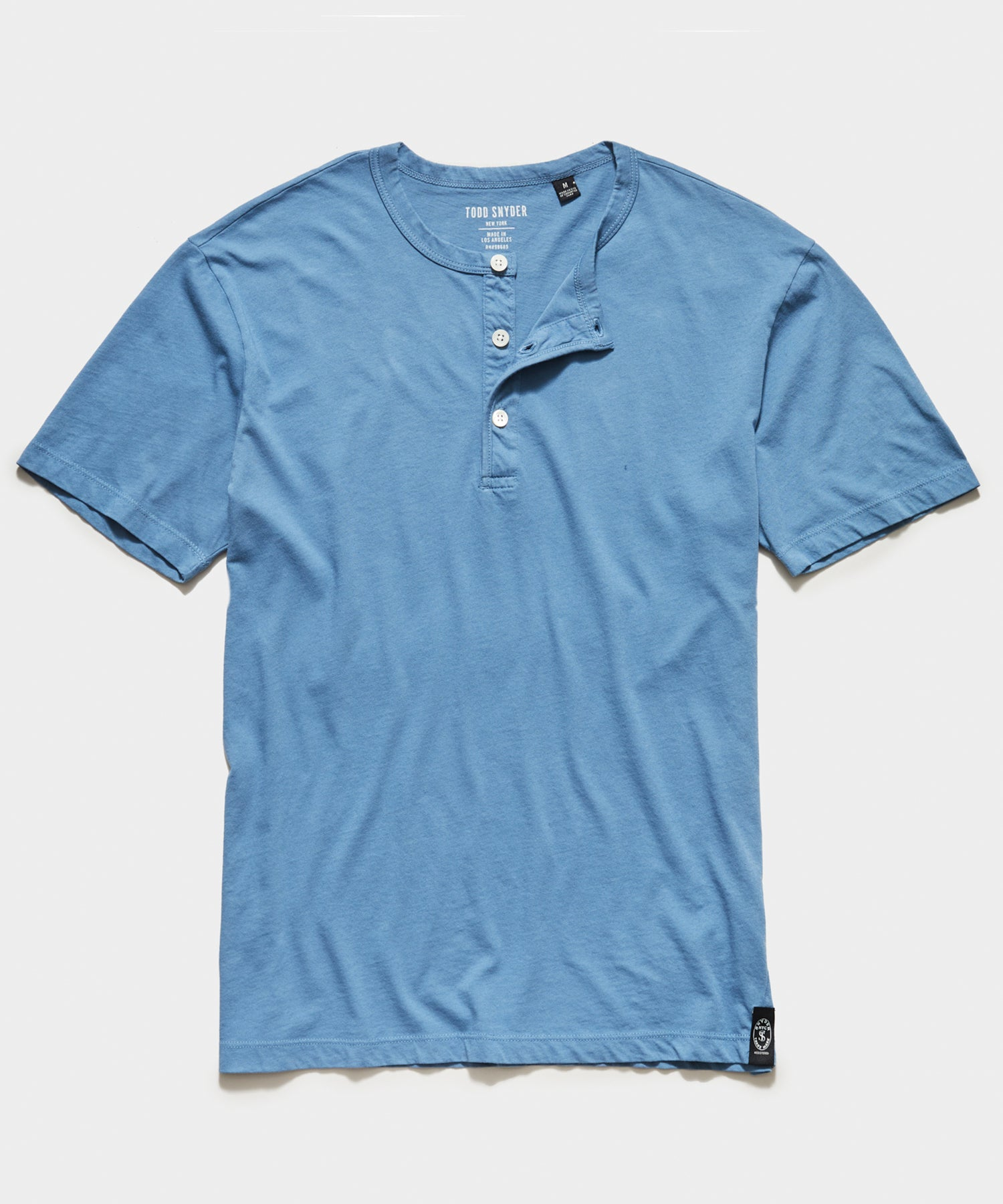 Made in L.A. Short Sleeve Jersey Henley in Club Blue