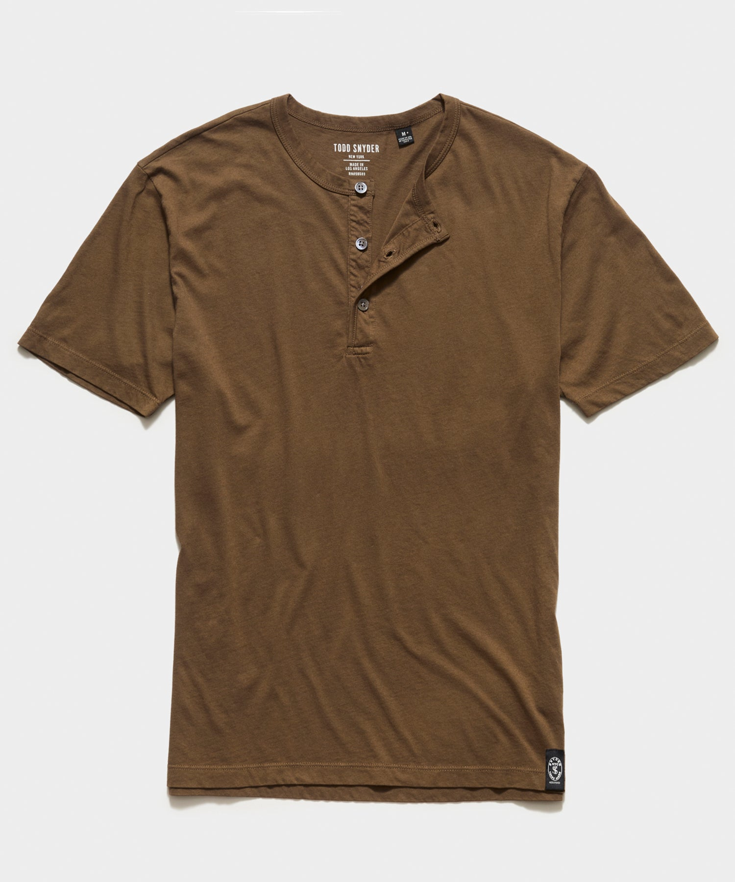 Made in L.A. Short Sleeve Jersey Henley in Mossy Brown
