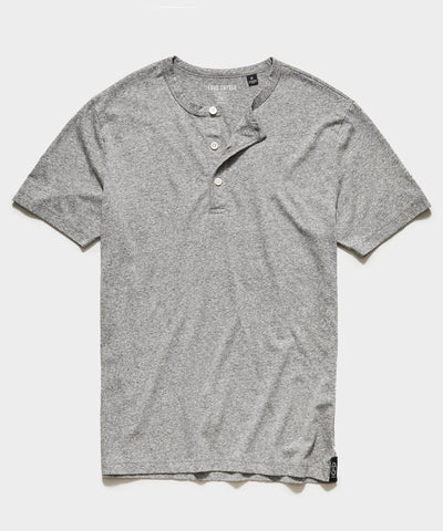 Made in L.A. Short Sleeve Jersey Henley in Grey Heather