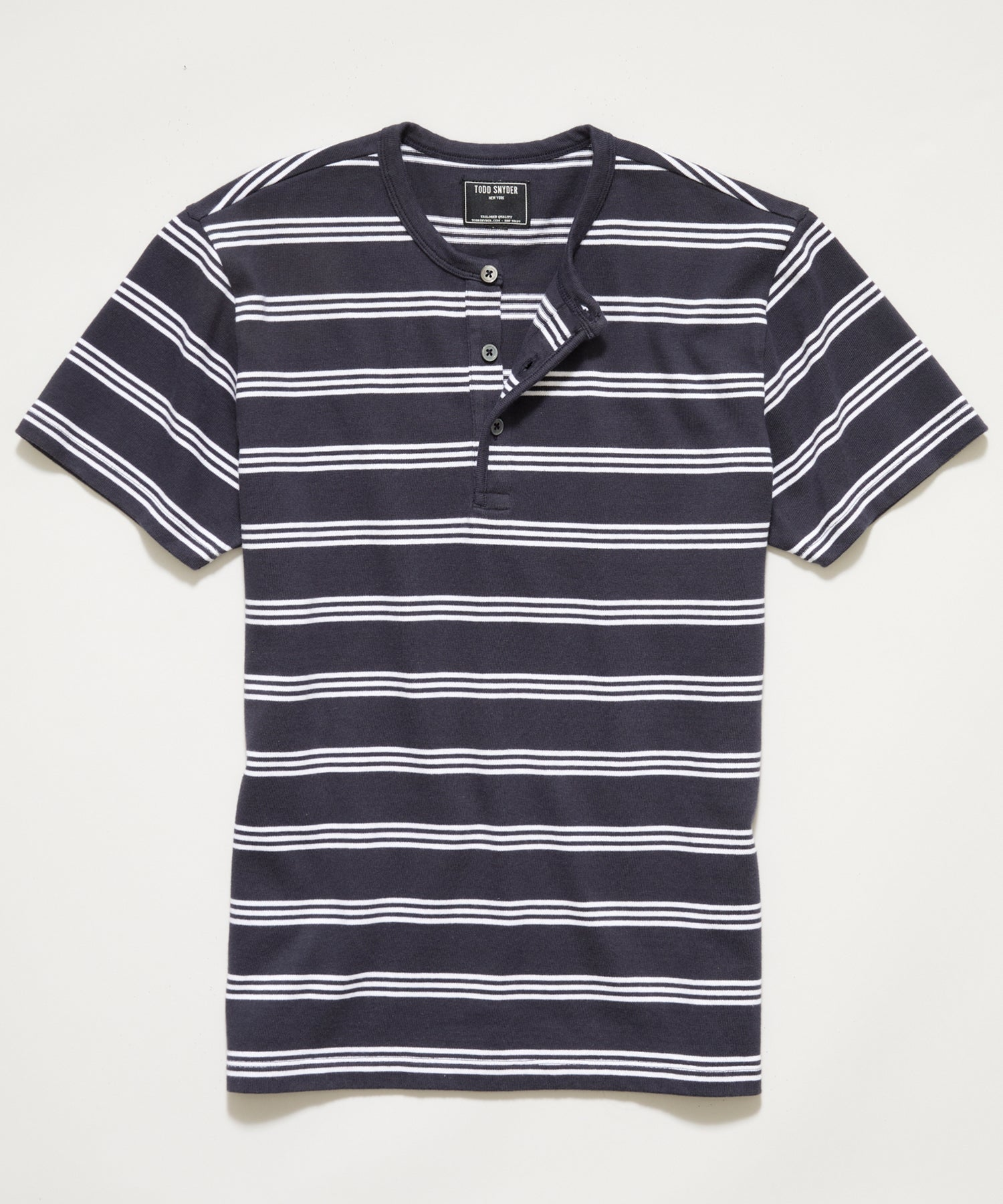 Premium Jersey Striped Henley in Original Navy