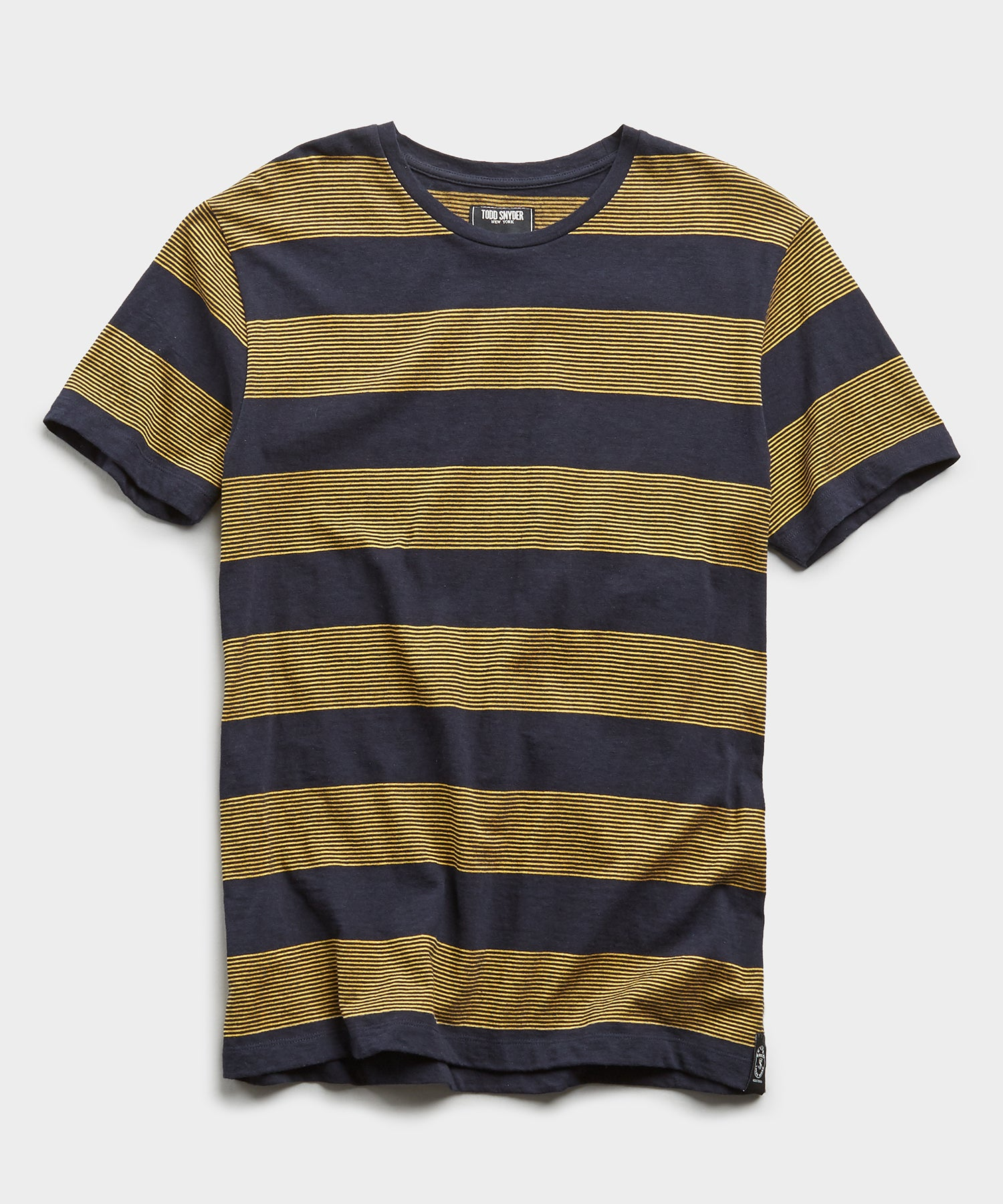 Portuguese Bold Micro Stripe Tee in Navy/Yellow