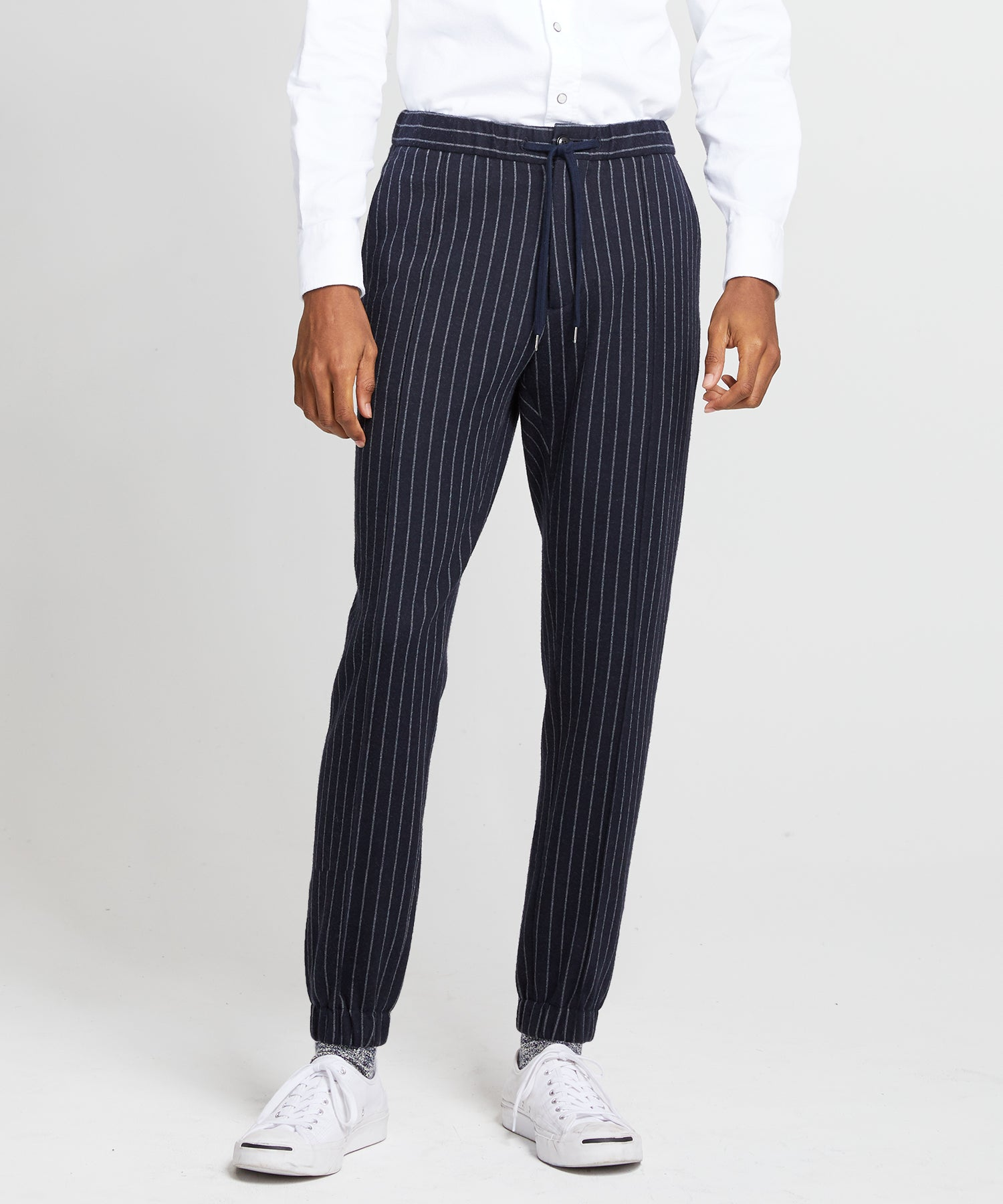Knit Traveler Suit Trouser in Navy Pinstripe