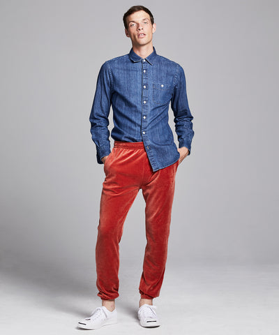 Velour Classic Fit Sweatpant in Tomato Red