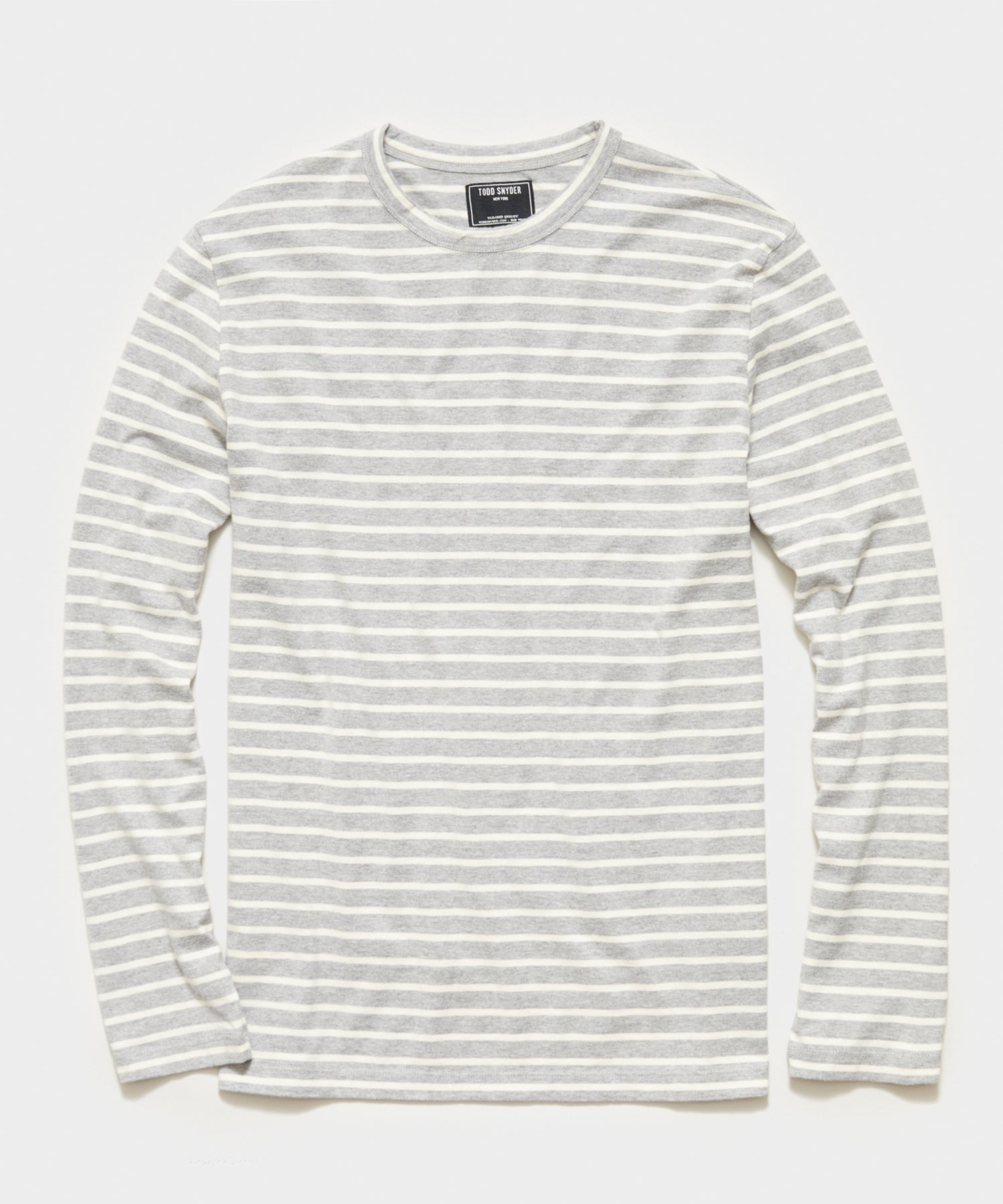 Long Sleeve Japanese Nautical Stripe Tee in Grey