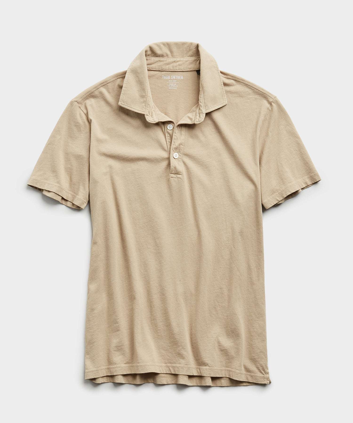 Made in L.A. Short Sleeve Jersey Polo in Toasted Almond