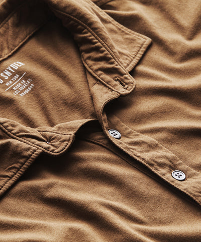 Made in L.A. Short Sleeve Jersey Polo in Mossy Brown