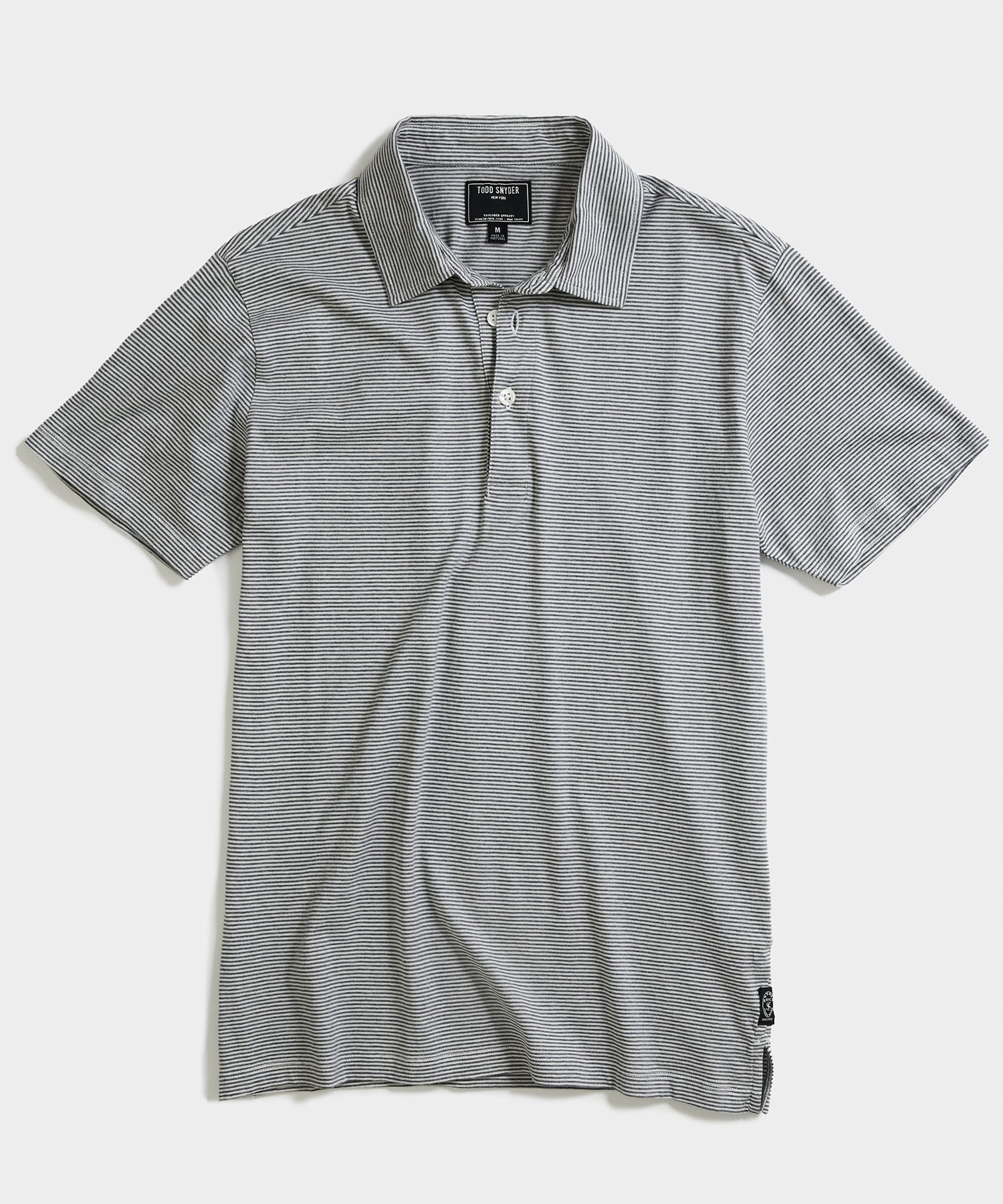 Portuguese Micro Stripe Polo in Grey