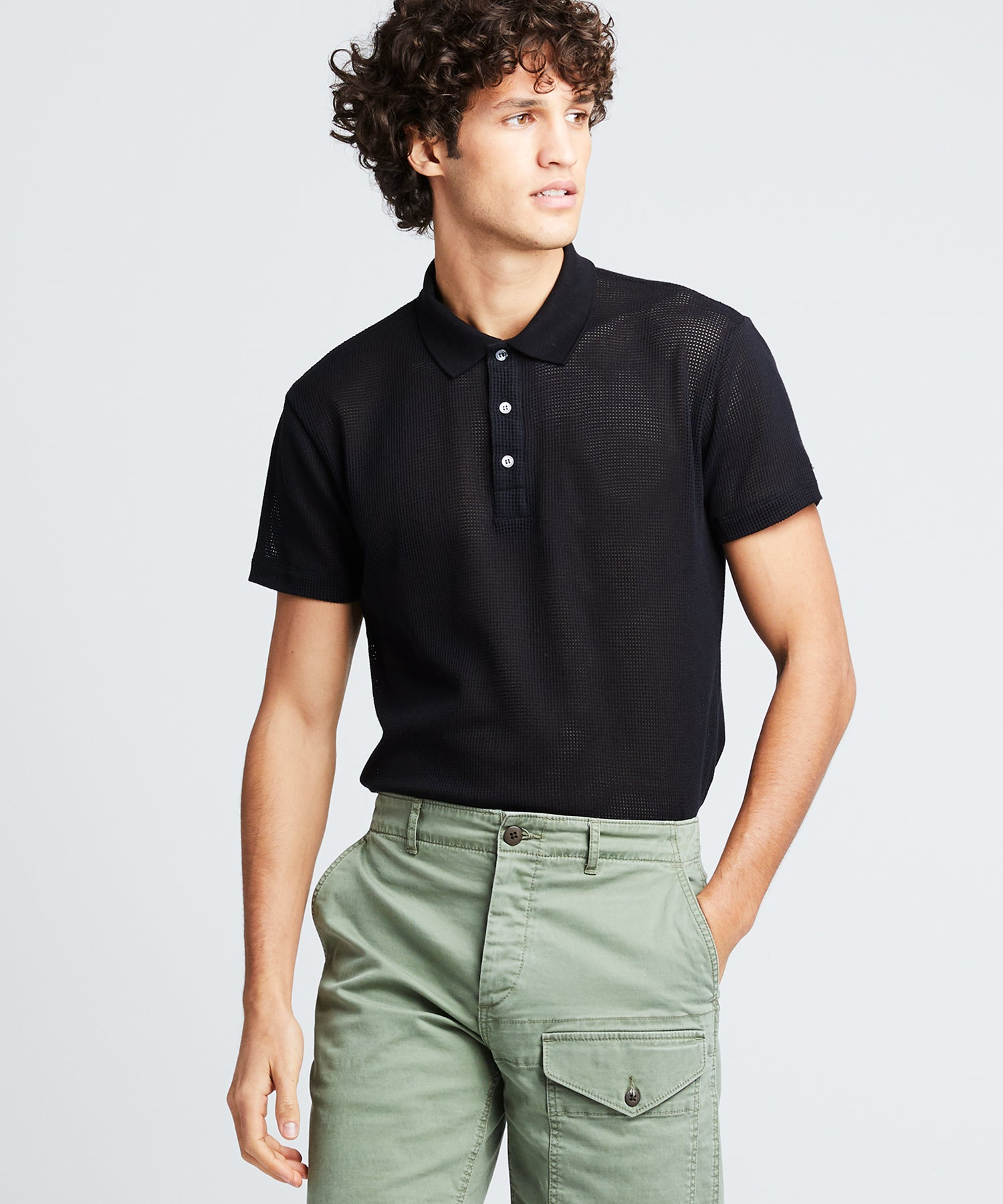 Short Sleeve Japanese Mesh Polo in Black