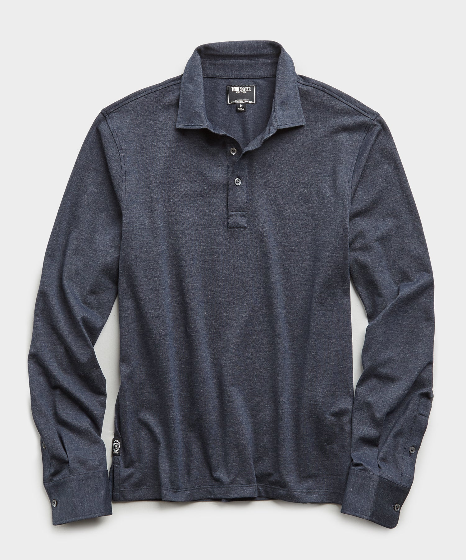 Long Sleeve Stretch Dress Polo in Navy