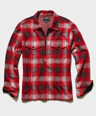 Plaid Quarter Zip Jacket in Red