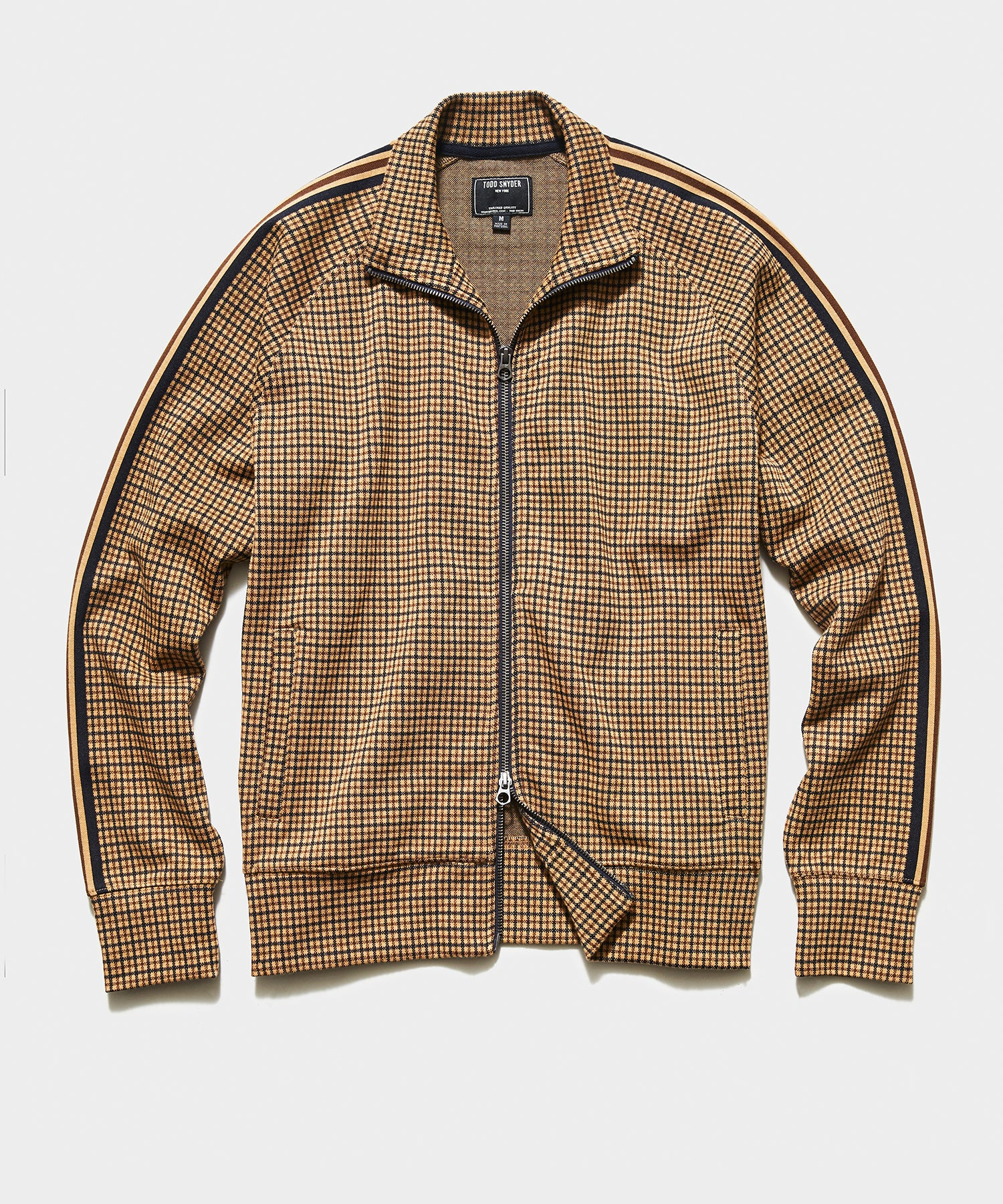 Tattersall Plaid Track Jacket in Tan