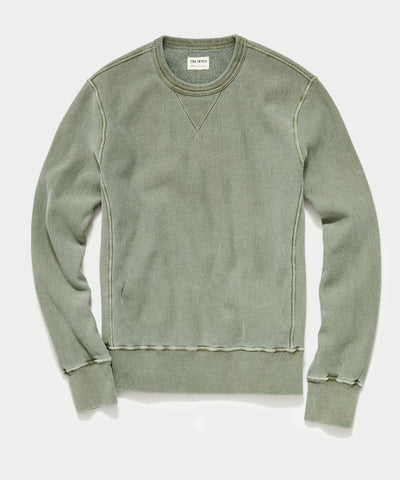 Garment Dyed Crew Sweatshirt in Olive