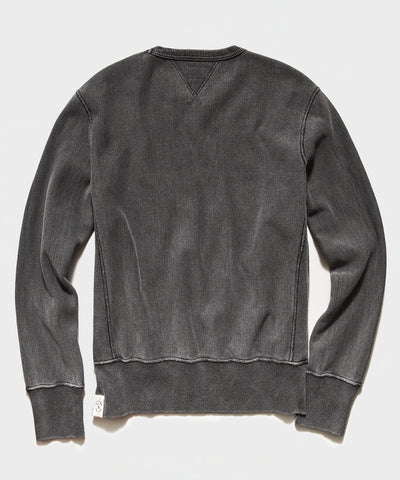 Garment Dyed Crew Sweatshirt in Black Sand