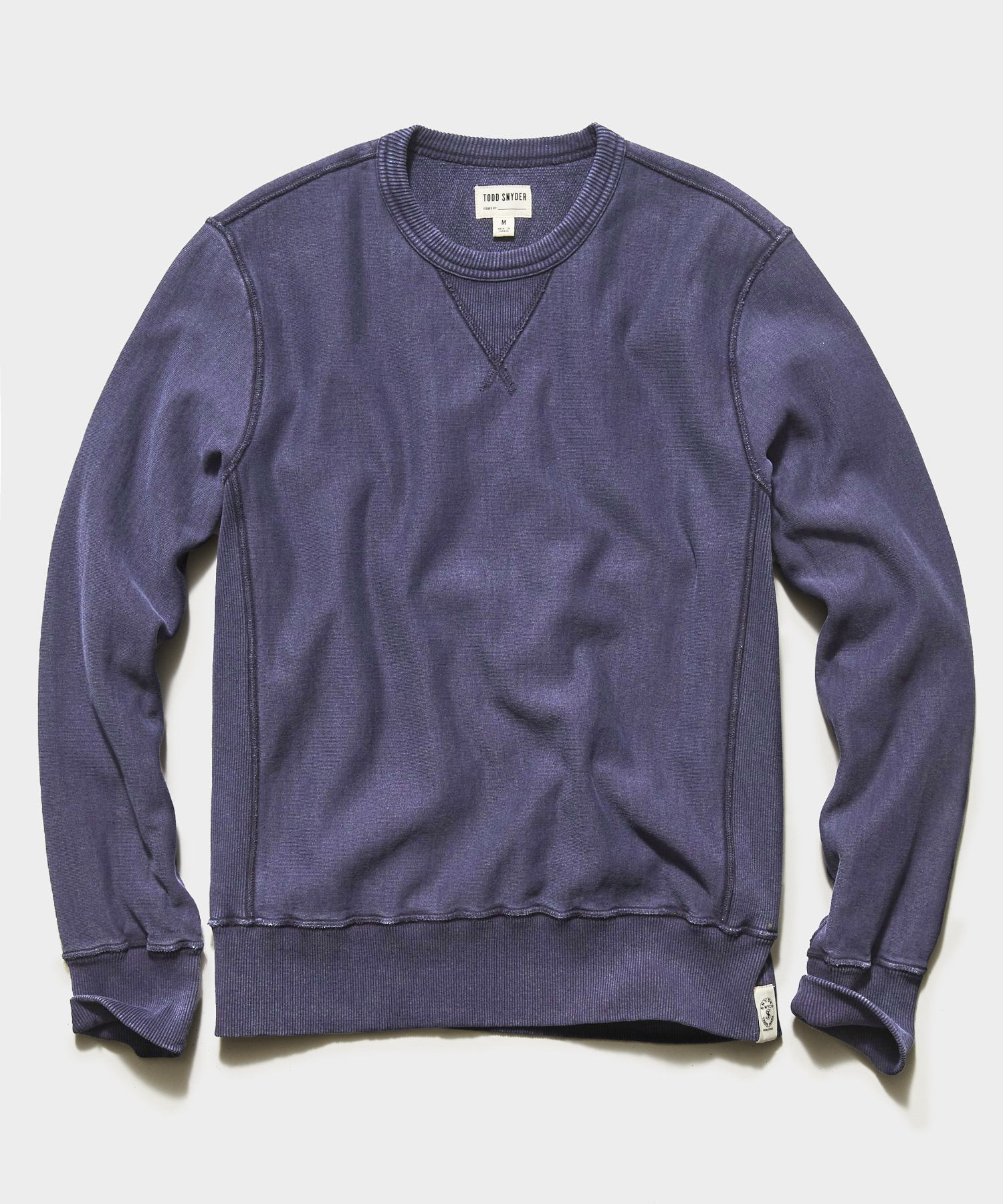 Garment Dyed Crew Sweatshirt in Navy Sand