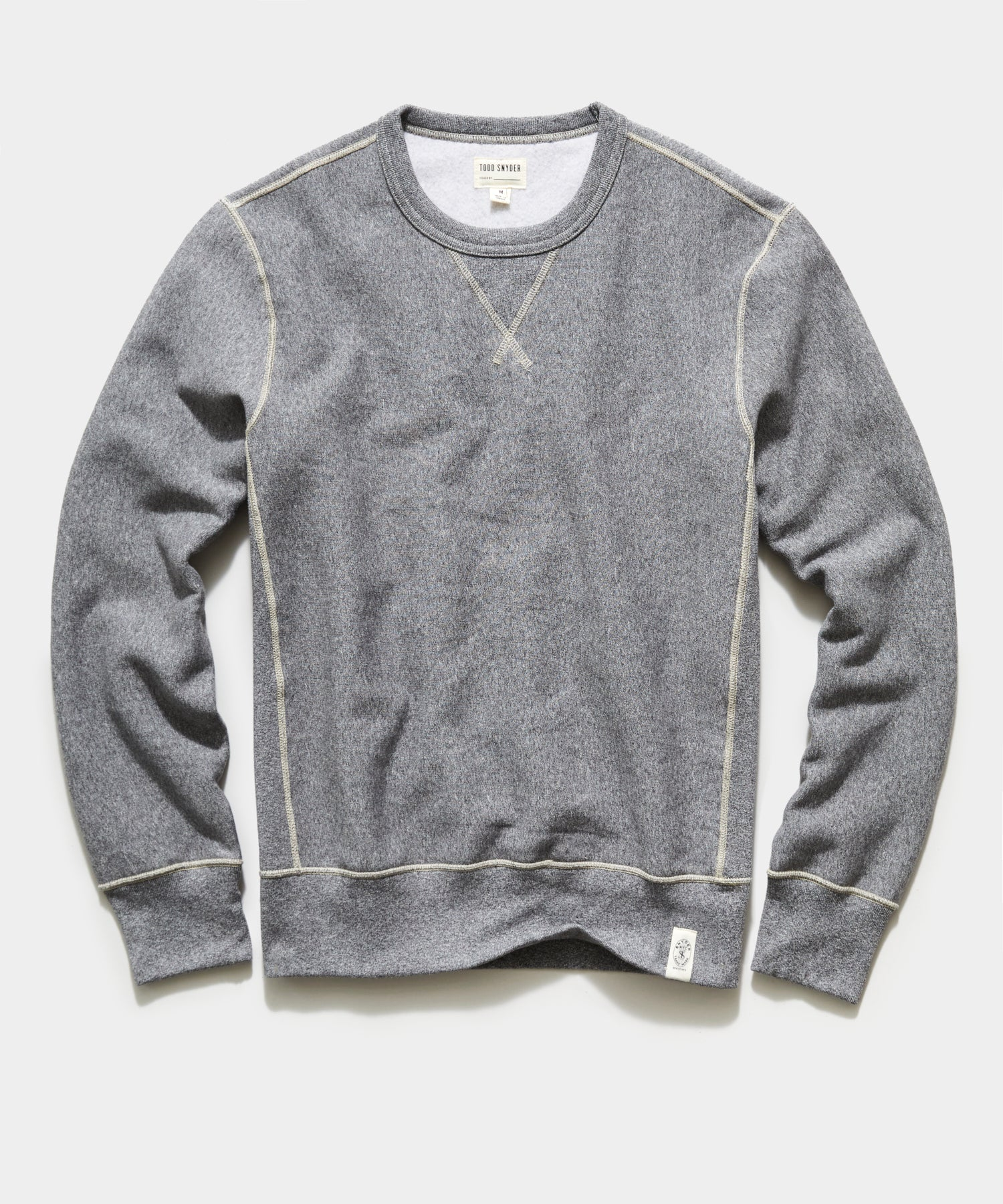 Garment Dyed Fleece Crew Sweatshirt in Salt and Pepper