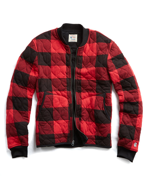 Champion Quilted Bombers in Red Buffalo Check