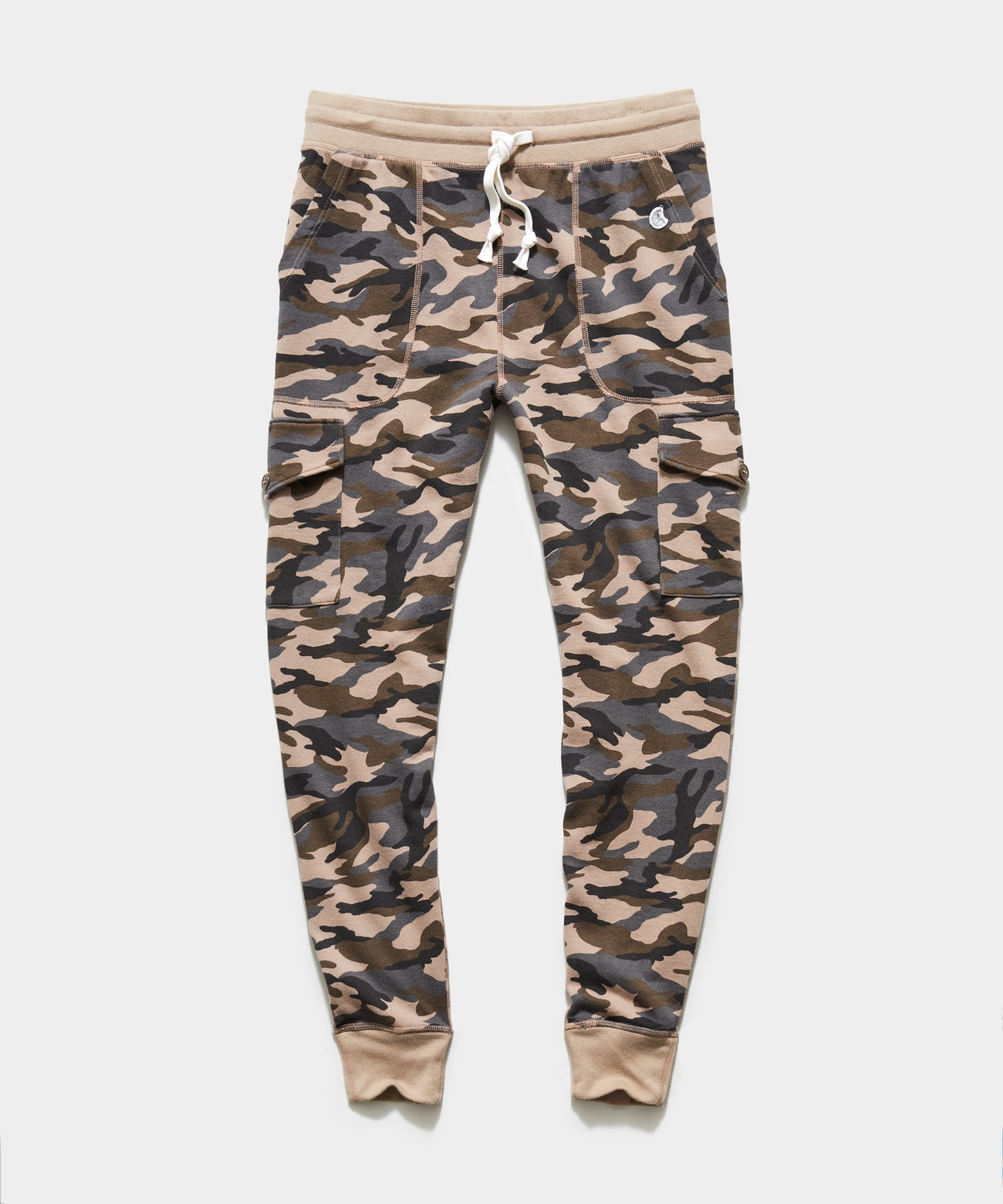 Camo Slim Cargo Sweatpant in Tan