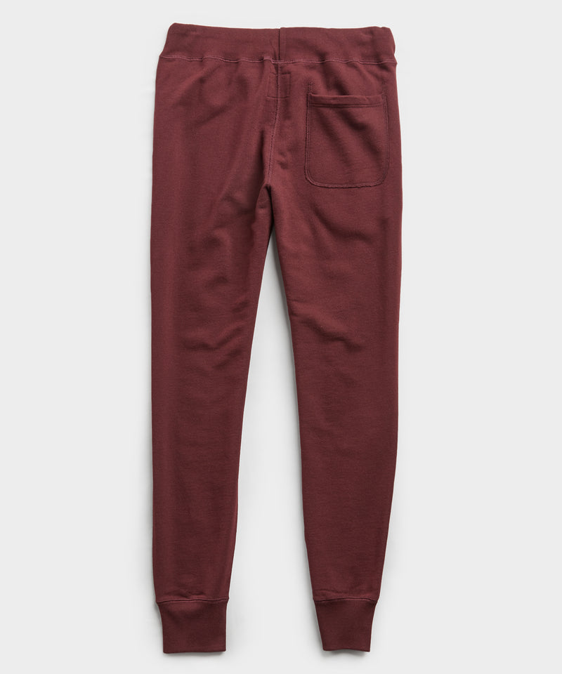 Terry Slim Jogger Sweatpant in Deep Burgundy