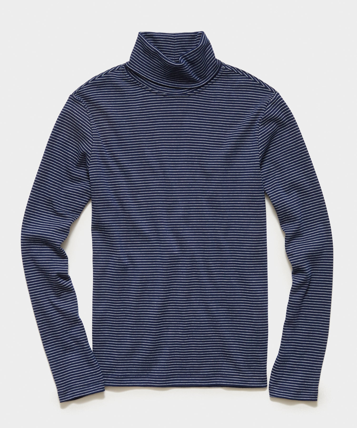 Jersey Stripe Turtleneck in Navy