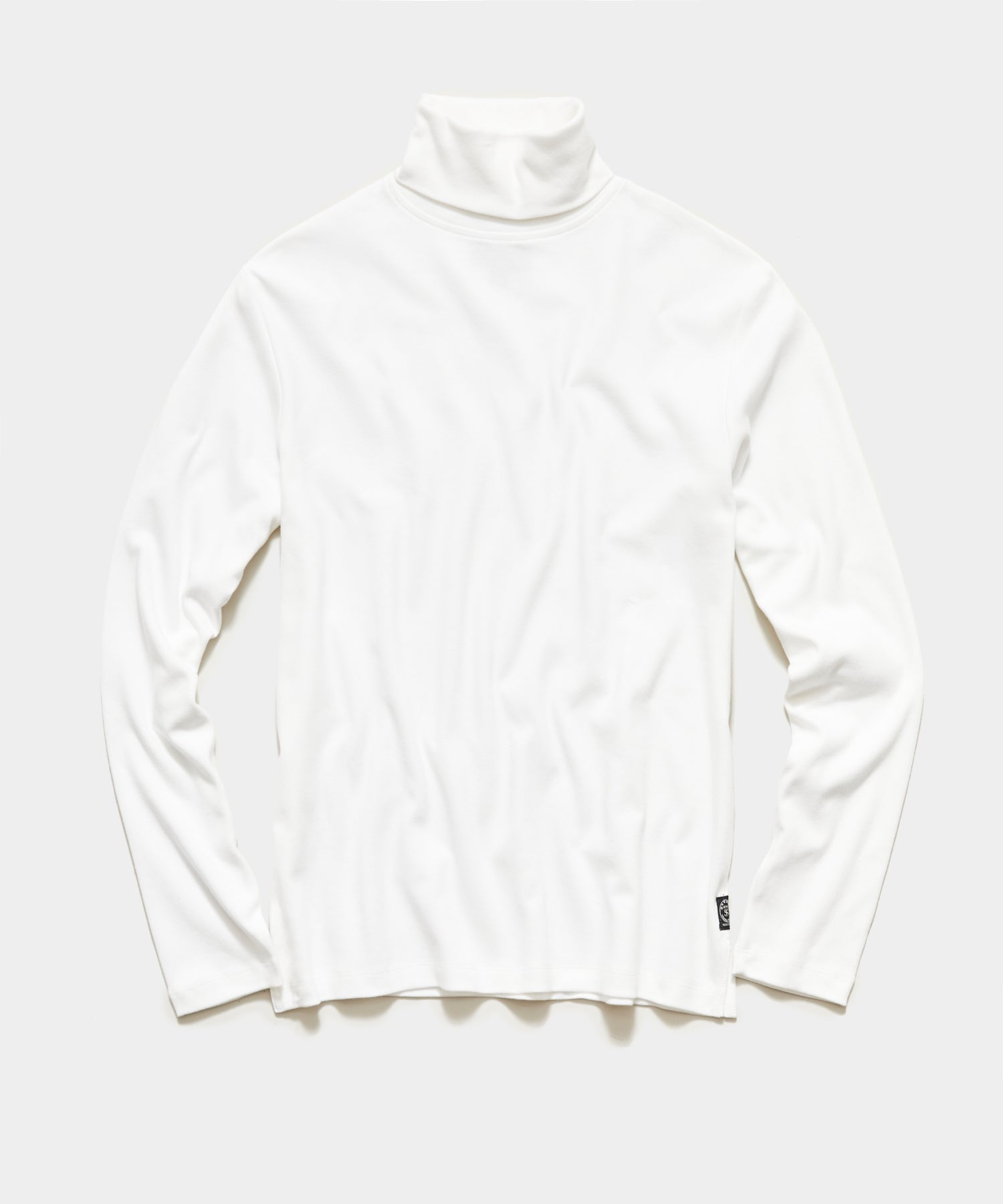 Solid Jersey Turtleneck in Off White