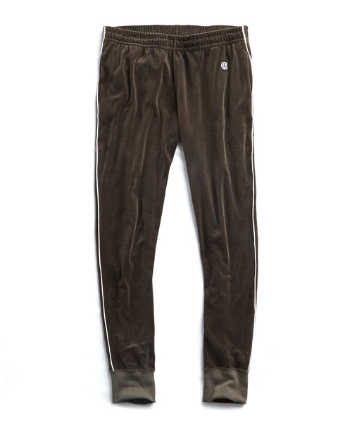 Piped Velour Track Pant in Thyme