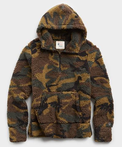 Japanese Sherpa Hoodie in Olive Camo Print