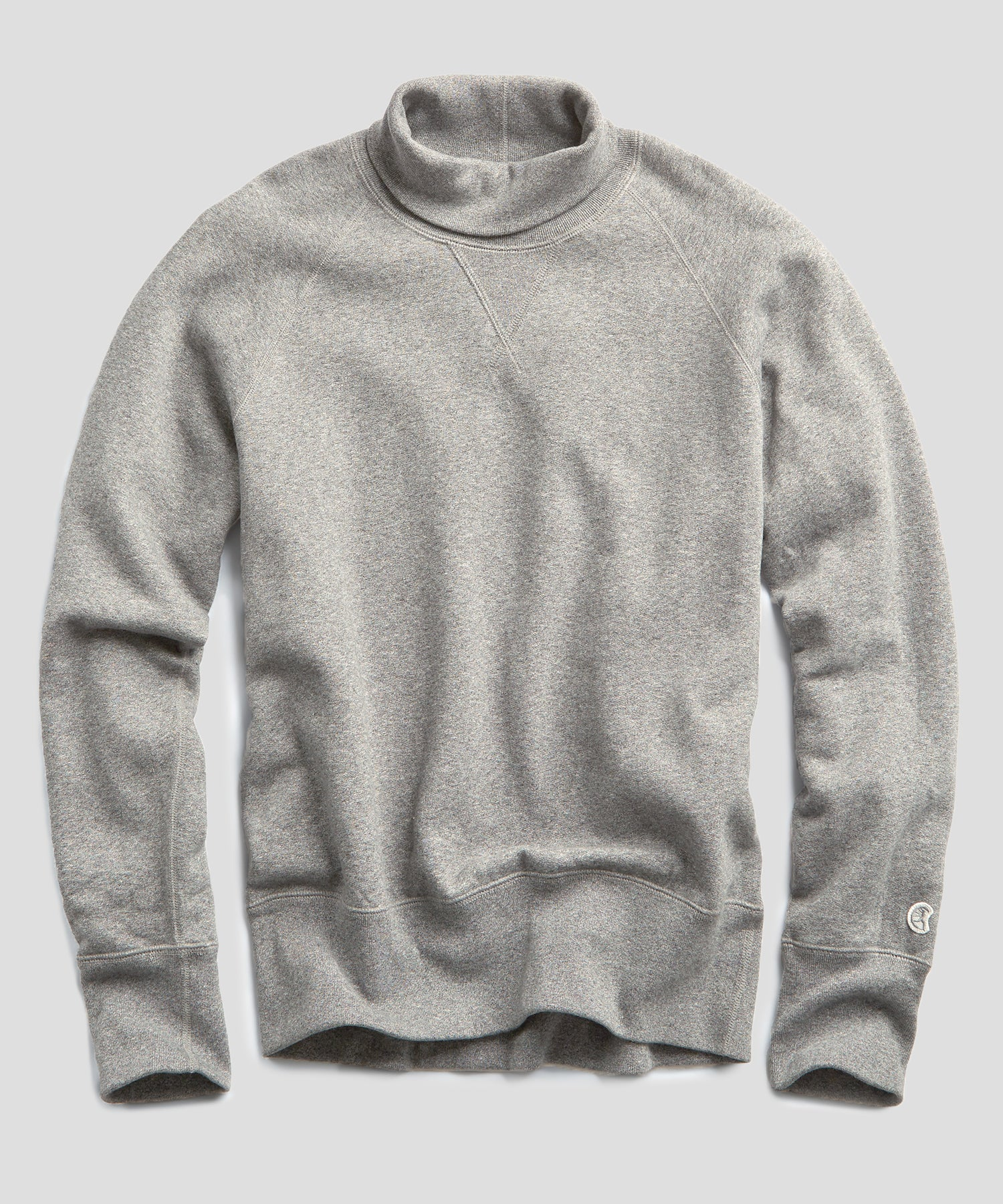 Fleece Turtleneck Sweatshirt in Light Grey Mix
