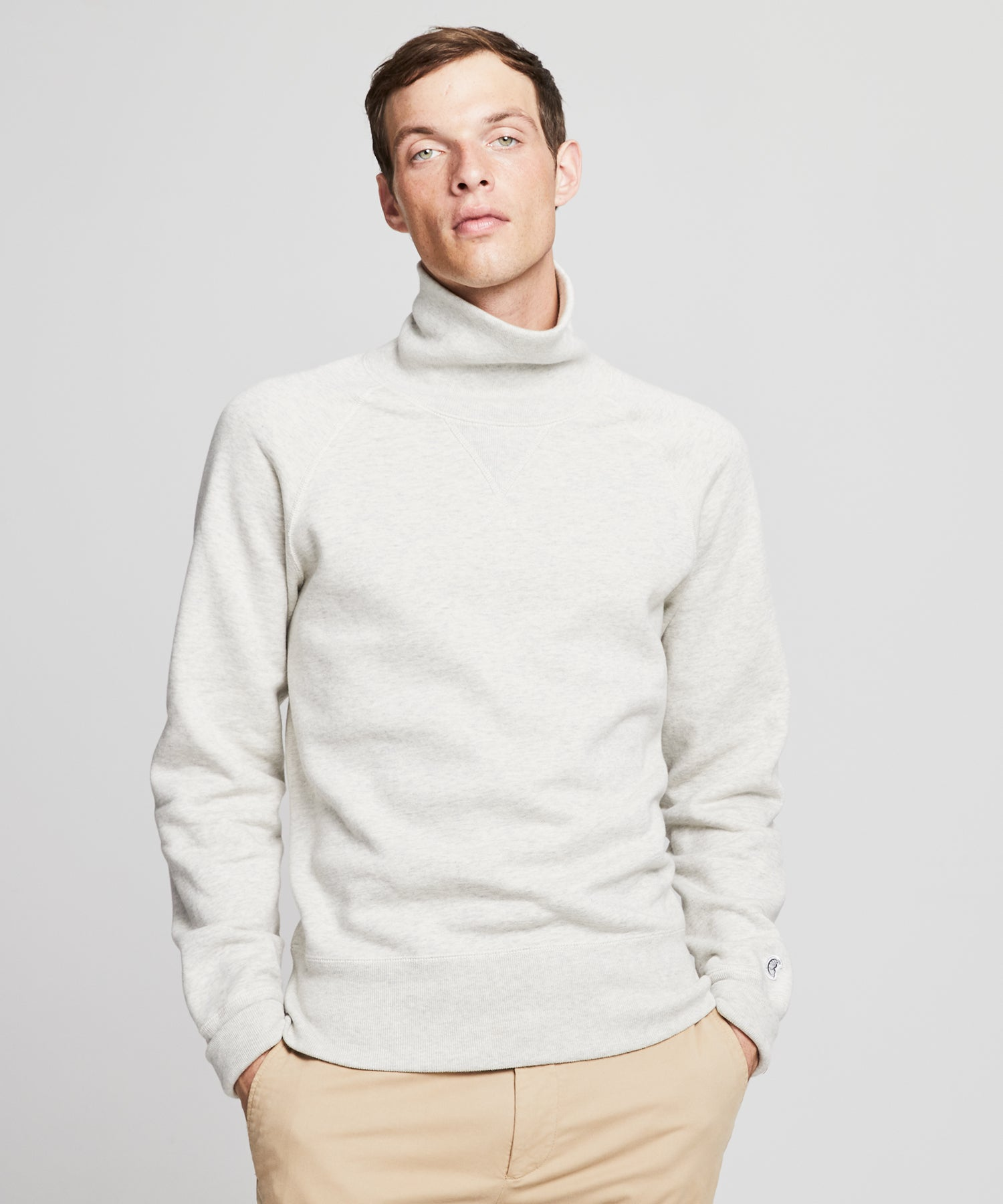 Fleece Turtleneck Sweatshirt in Eggshell Mix