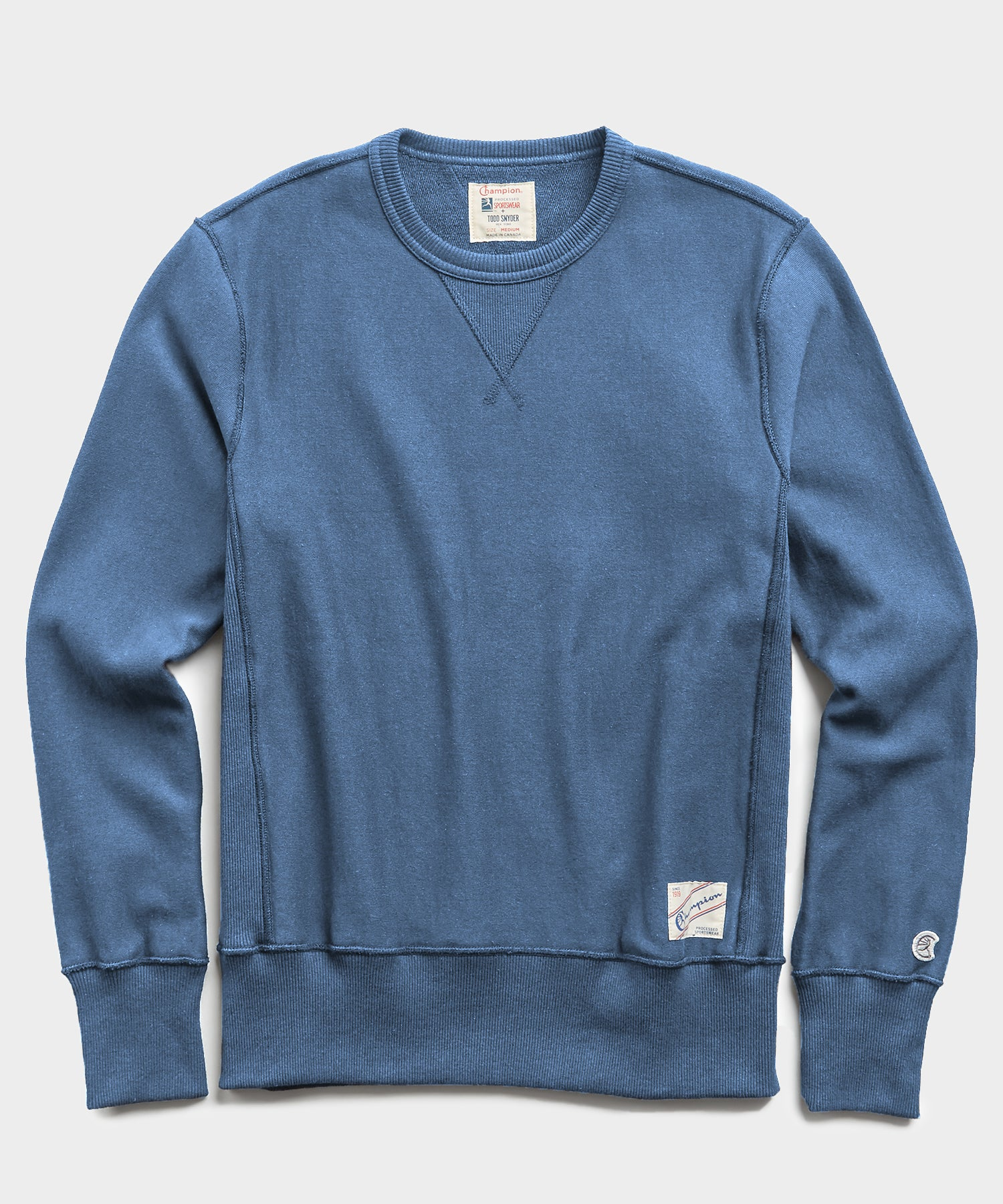 Lightweight Reverse Weave Crew in Cadet Blue