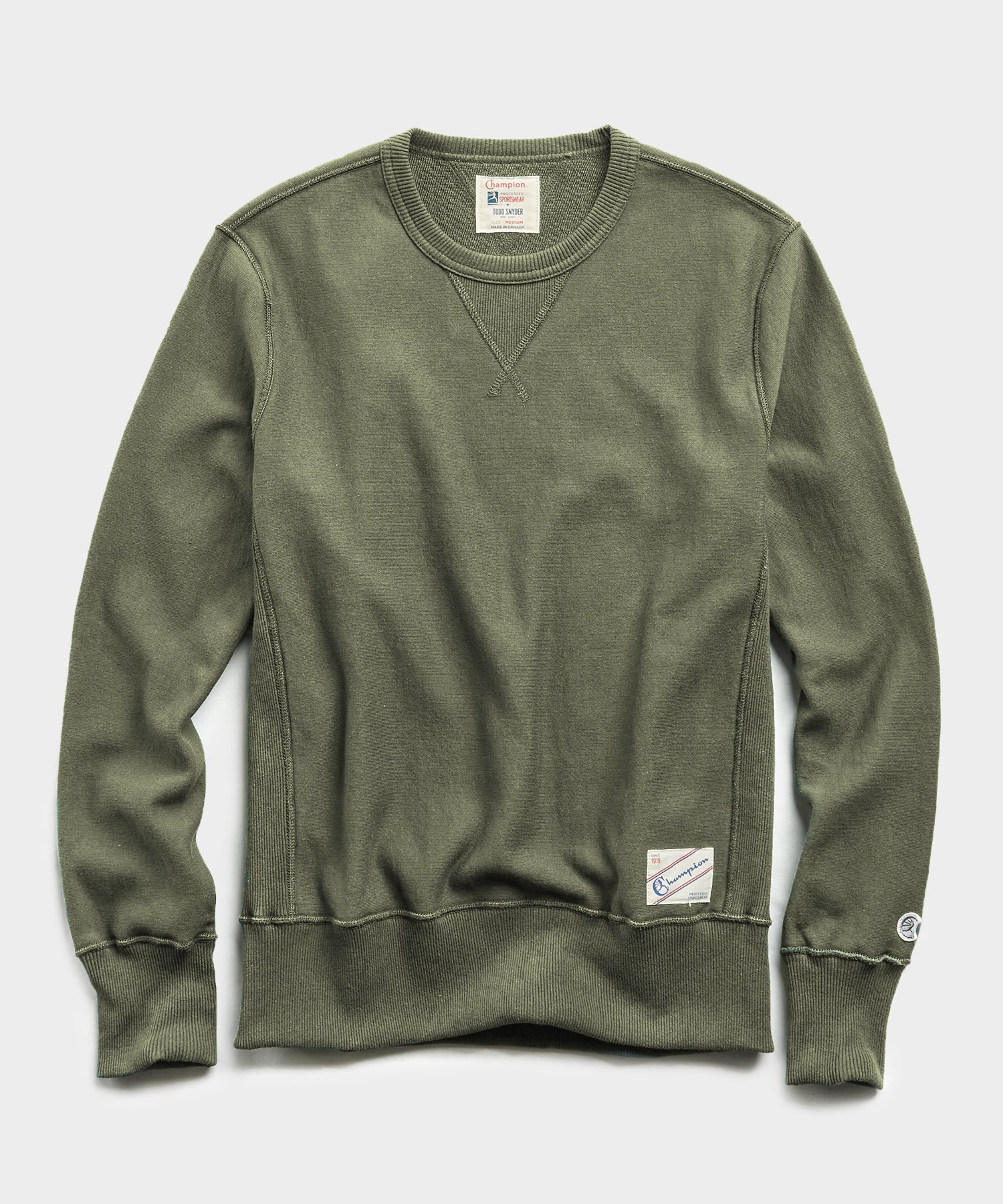 Lightweight Reverse Weave Crew in Washed Olive