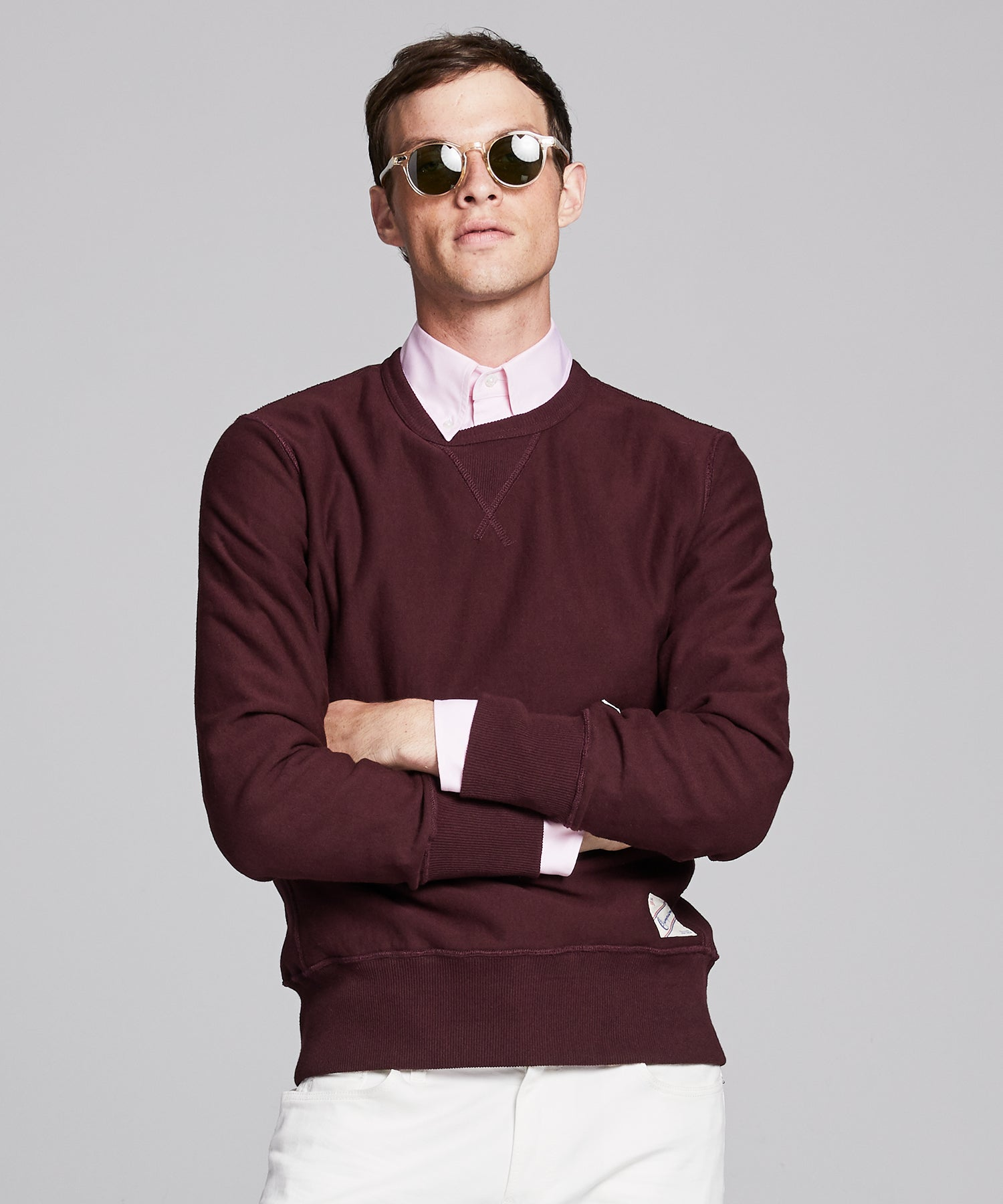Reverse Weave Crew in Deep Burgundy