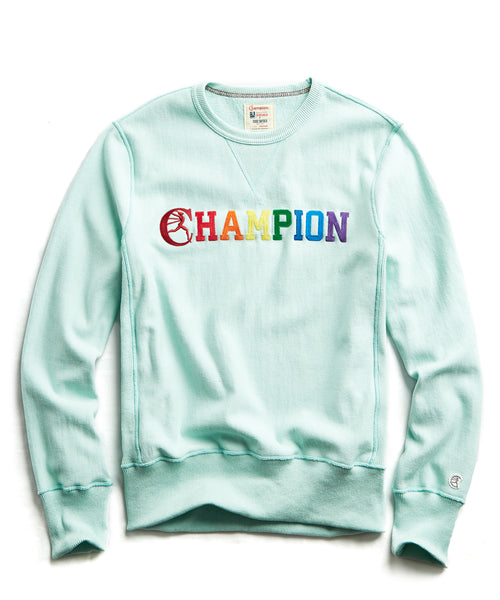 Champion Pride Logo Sweatshirt in Minty Green