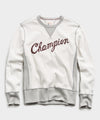 Champion Cursive Sweatshirt in Alabaster