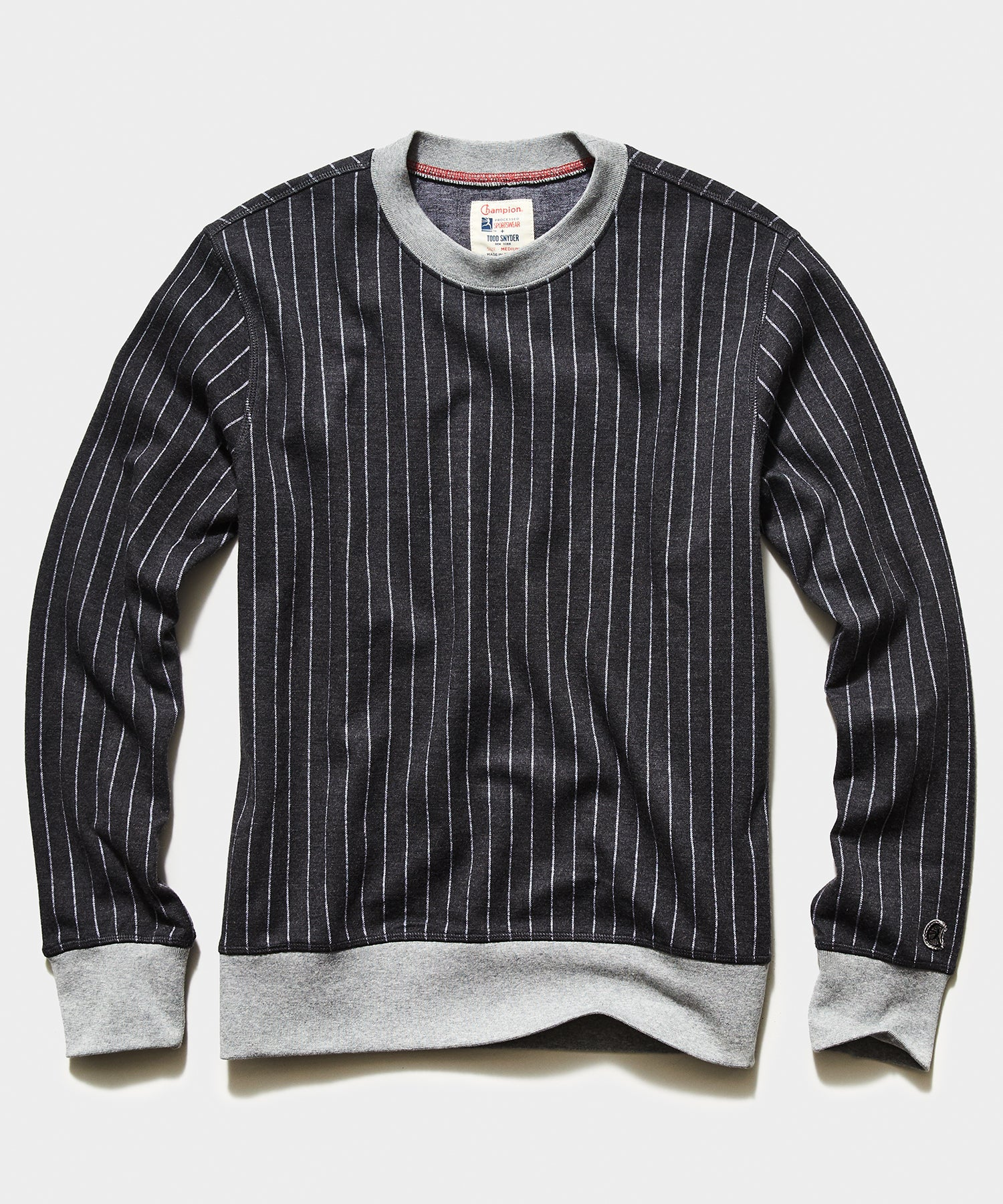 Champion Wool Pinstipe Crewneck Sweatshirt in Charcoal